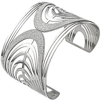 חפתים/לפתוח צמיד נירוסטה עם צמיד אפקט נצנצים רחב