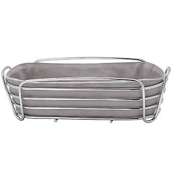 Blomus bread basket DELARA chrome-plated steel wire with cotton liner taupe