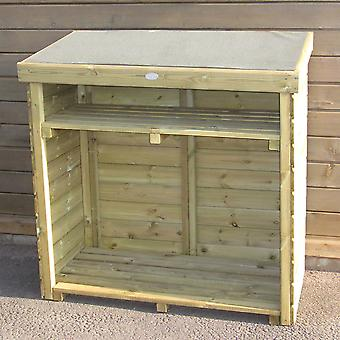 Charles Bentley British Made Enclosed Wooden Log Store Additional Shelf Timber FSC Approved High Quality Natural Wood H127 x W126.5 x D70cm 60kg