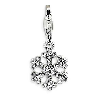 925 Sterling Silver Rhodium plated Fancy Lobster Closure CZ Cubic Zirconia Simulated Diamond Snowflake With Lobster Clas