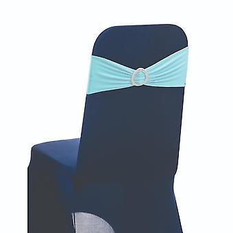 Light Aqua Plain Stretchable Spandex Chair Sashes With Round Diamante Buckles