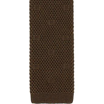 Michelsons of London Textured Spot Silk Knitted Tie - Brown