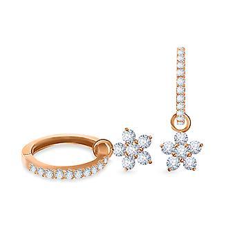 Korvakorut Vanteet Keiju kukka 18K kultaa ja timantteja