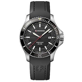 Wenger Seaforce Quartz Black Dial Black Siliconen Strap Herenhorloge 01.0641.117 RRP Â £169