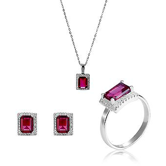 Orphelia 925 Silver Set Necklace + Earrings + Ring with Ruby and Zirconium