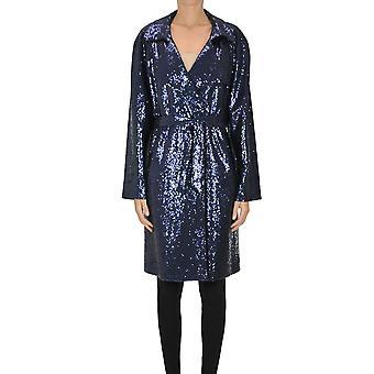 Itmfl Ezgl530002 Women's Blue Sequins Trench Coat
