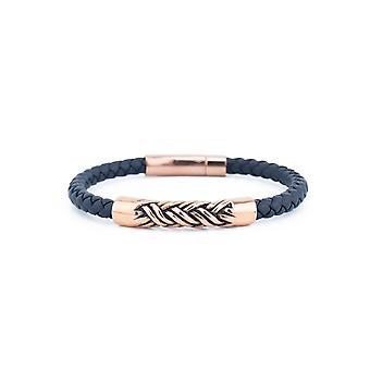 31MADISON Pulsera de cuerda de cuero y acero rosa