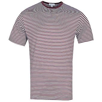 Sunspel Short Sleeve Crew Neck White & Maroon Striped T-Shirt