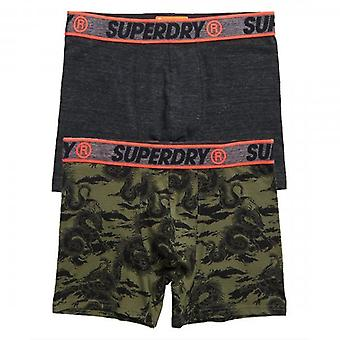 Superdry Two 2 Pack Boxer Shorts Grey & Green Dragon Print T3W