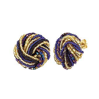 Éternelle Collection Opulenza Sapphire Bleu et Or Vénitien Murano Verre Torsade Percé Boucles d'oreilles Stud