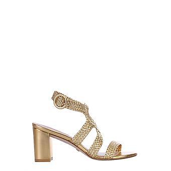 Stuart Weitzman Vicky75wovengold Women's Gold Leather Sandals