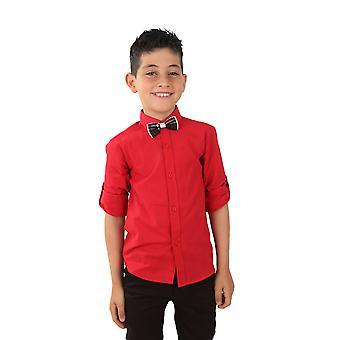 الأولاد الكتان الأحمر نشمر الأكمام القميص