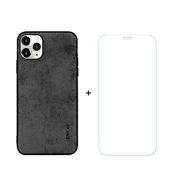 Voor iPhone 11 Pro Max Case Fabric Textuur Zwart Gehard glas Screen Protector