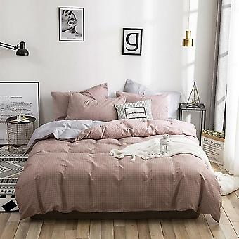 Modern Cotton Plaid Printed Duvet Cover Set - Single Queen Size Bedding Set