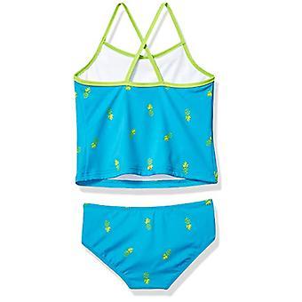 Essentials Girl's 2-Piece Tankini Set, Aqua Pineapples, Large