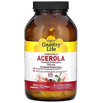 Country Life, Chewable Acerola, Vitamin C Complex, Berry, 500 mg, 90 Wafers
