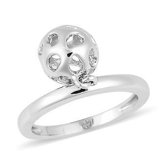 RACHEL GALLEY 925 Sterling Silver Statement Fashion Lattice Globe Ring Size N