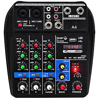 Eu Plug-A4 Sound-Mixing Console Bluetooth Usb Record Computer Playback 48V 4 Channels Usb A