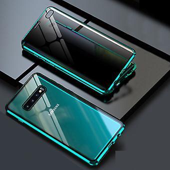 דברים מאושרים® סמסונג גלקסי S10 מגנטי 360 ° מגן עם זכוכית מחוסמת - כיסוי גוף מלא מגן + מגן מסך ירוק