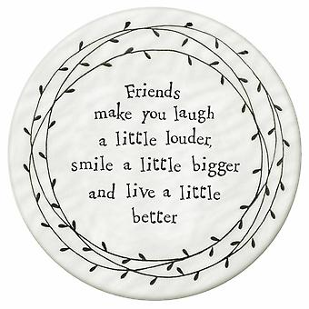 East of India Leaf Coaster - Friends make you laugh a little louder smile .. Gift