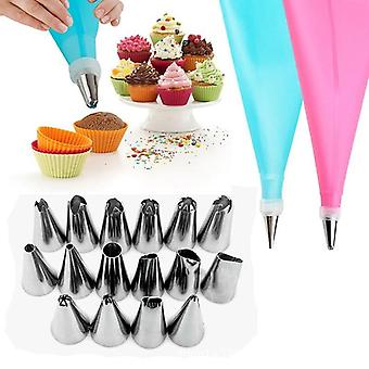 Diy Kitchen Silicone Pastry Bag, Icing Piping Nozzle Cream Tips & Reusable