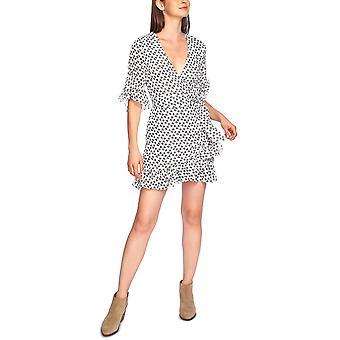 1.State   Short-Sleeve Ruffly-Flounce Dress