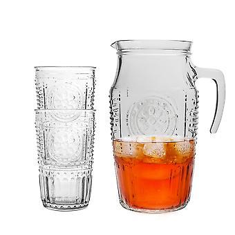 Bormioli Rocco Romantic Water Tumbler Glasses with Carafe Decanter Jug - 7pc Set