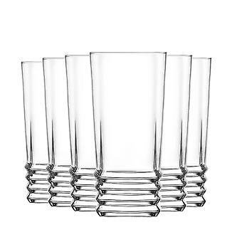 LAV Elegan Highball Cocktail Glasses Set - Ridged Glass Hiball Tumblers - 335ml - Pack of 6