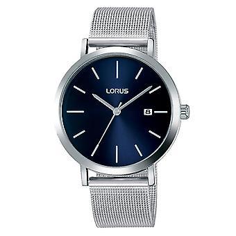 Lorus Herren Silber Mesh Armband Uhr mit Sunray Blau Zifferblatt (Modell Nr. RH941JX9)