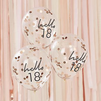 Hello 18 Rose Gold Party Balloons - 18th Birthday Balloons x 5