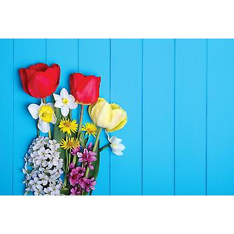 Wallpaper Mural Tulips On A Wooden Background (400x260 cm)