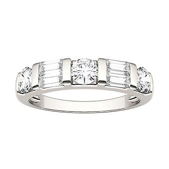 14K White Gold Moissanite by Charles & Colvard 4x2mm Step Cut Baguette Wedding Band, 1.15cttw DEW