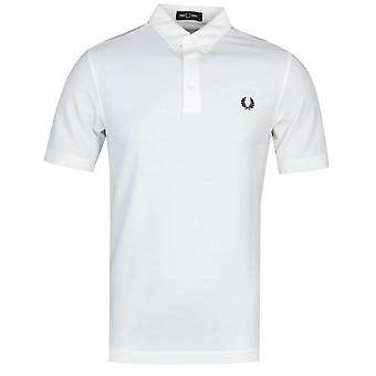 Fred Perry Button Down White Polo Shirt
