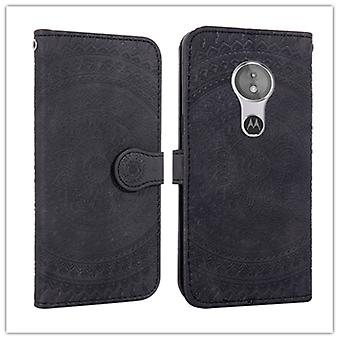 Pour Motorola Moto G7 Play Pressed Printing Pattern Horizontal Flip PU Leather Case with Holder & Fentes de carte & Portefeuille & & Lanyard (Noir)