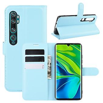 עבור Xiaomi Mi הערה 10 / הערה 10 Pro / CC9 פרו לליצ'י מרקם אופקי להעיף אופקי מגן מקרה עם מחזיק & &חריצי כרטיסים ארנק(כחול)