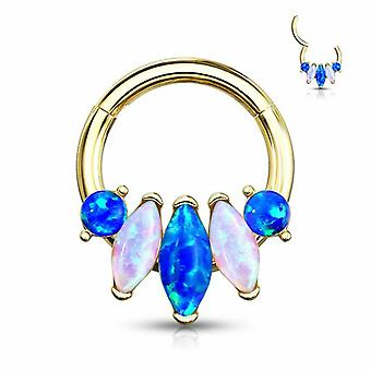 Nose septum and ear hinged clicker hoop with 5-marquise opal set surgical steel