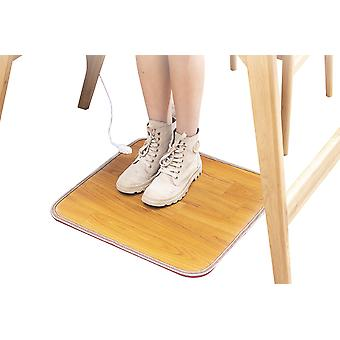 Heated Floor Mat For Foot, Wood Stripe Carbon Crystal Heating Pad, Electric Heated Foot Warmers For Office, Home