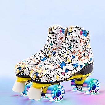 طباعة الدانتيل متابعة امرأة جلدية اصطناعية / رجل مزدوجة الصف الأسطوانة أحذية التزلج