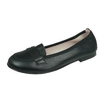 Angela Brown Emma Girls Leather Loafer / School shoes - Black