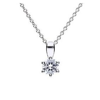 Diamonfire 925 Sterling Silver Cubic Zirconia Claw Set Solitaire Pendant Necklace 41-46cm