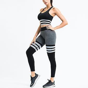 Women's Workout Outfit 2 Pieces  Stripe Yoga Leggings with Bra Gym Clothes Set