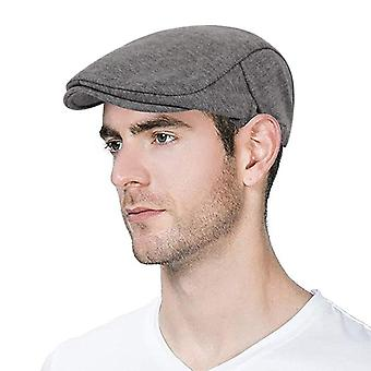 Man Berets Cotton British Vintage Flat Caps Gatsby Male Solid Gray Black Spring
