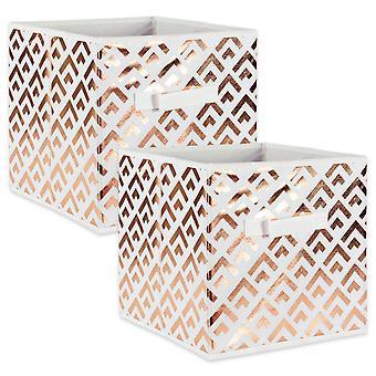 Dii Nonwoven Polyester Cube Double Diamond White/Copper Square (Set Di 2)