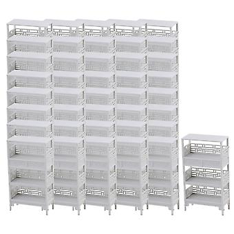 White Scale 1:25 Plastic Dollhouse Miniatures Shelf Stand Unpainted Set of 50