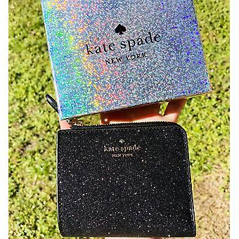 Kate spade lola glitter encaixotado pequena l-zip bifold carteira de presente preto