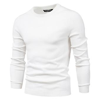 Winter Thickness Pullover Men O-neck Solid Long Sleeve Slim Sweaters, Male
