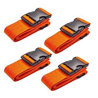 4pcs 5x188cm Orange Adjustable Suitcase Buckle Binding Strap for Travel