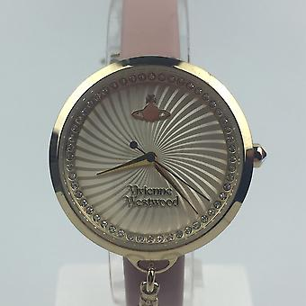 Pre-Owned Vivienne Westwood Bow Orb Charm Pink Leather Strap Gold Ladies' Watch VV139WHPK-P1