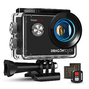 Dragon touch 4k action camera, 20mp eis anti-shake support external microphone underwater 100ft wate