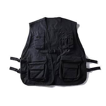 Military Multiple Pockets Cargo Vest, Hip Hop Men Sleeveless Jacket